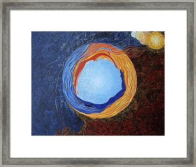 Nommo Ship Entering Into Happy Marriage With Earth Framed Print by Lola Lonli