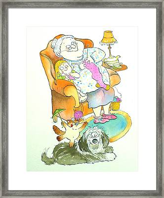 Nona Grandma Pen & Ink And Wc On Paper Framed Print