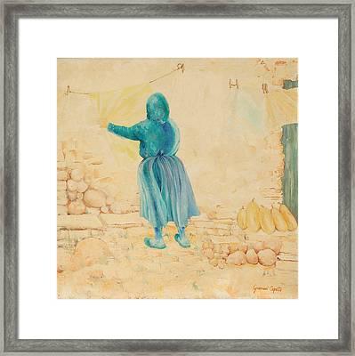 Framed Print featuring the painting Forenza Vita Nonna Filomena  Celesta Sole by Giovanni Caputo