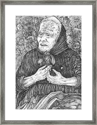 Framed Print featuring the drawing Forenza Vita Nonna Filomena - Famiglia Mia by Giovanni Caputo