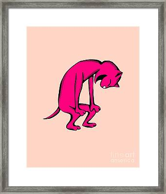 Framed Print featuring the drawing Noodle Cat Doubled Over In Laughter by Pet Serrano