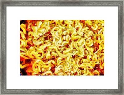 Noodle In Broth Painting Framed Print
