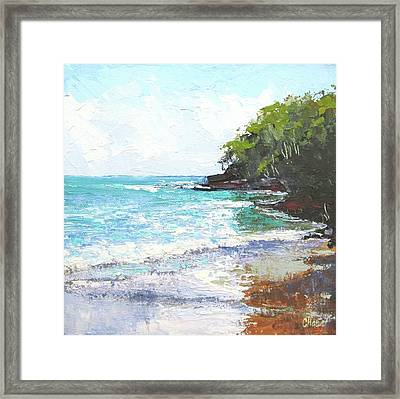 Framed Print featuring the painting Noosa Heads Main Beach Queensland Australia by Chris Hobel