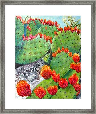 Nopal With Red Flowers  Framed Print by Nora Vega