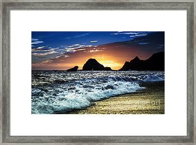 Norcal Sunset On Jenner Beach Framed Print