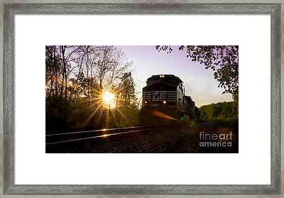 Norfolk And Southern At Sunset Framed Print