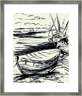 Norfolk Crab Boat Framed Print by William Rowsell