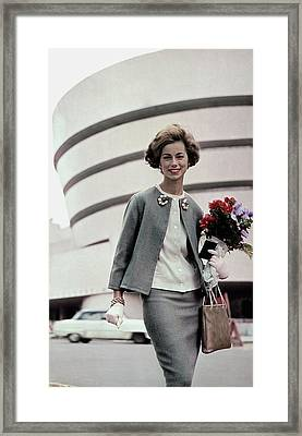 Norma Collier Standing In Front Of The Guggenheim Framed Print