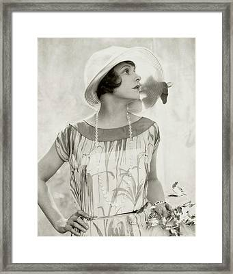 Norma Talmadge Wearing A Hat And Dress Framed Print