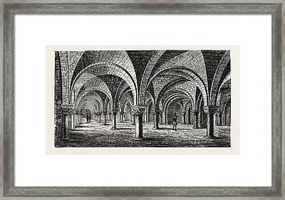 Norman Architecture Crypt Of Canterbury Cathedral Framed Print by English School