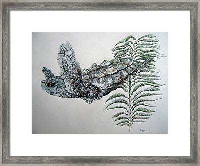 Framed Print featuring the drawing Norman Blue by Mayhem Mediums