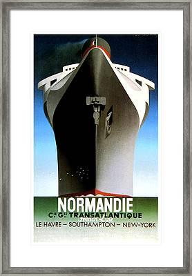 Normandie Transatlantique Advertising Poster Framed Print