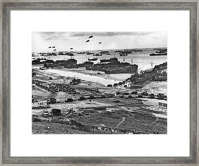 Normandy Beach Supplies Framed Print by Underwood Archives