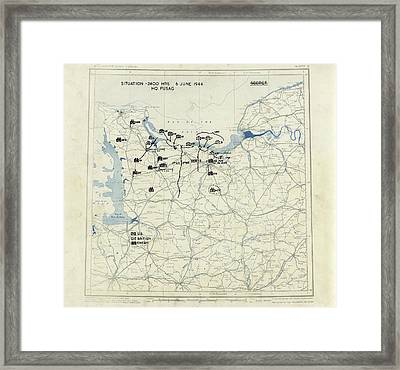 Normandy Campaign Map Framed Print by Library Of Congress, Geography And Map Division