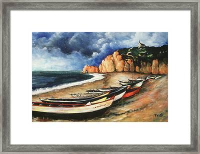 Normandy Coast - Landscape Oil Framed Print by Art America Gallery Peter Potter