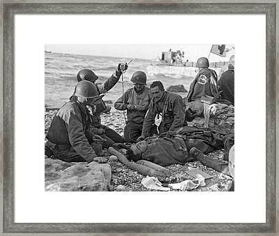 Normandy Invasion Medics Framed Print by Underwood Archives
