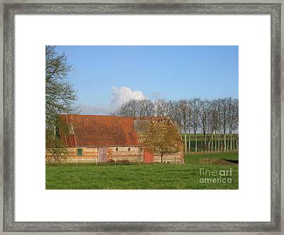 Framed Print featuring the photograph Normandy Storm Damaged Barn by HEVi FineArt