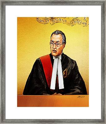 Nortel Verdict - Mr. Justice Marrocco Reads Non-guilty Ruling Framed Print by Alex Tavshunsky