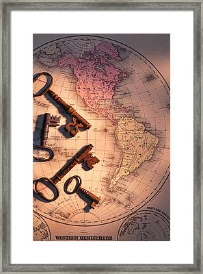 North America And Old Keys Framed Print