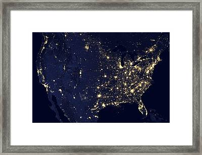 North America At Night, Satellite Image Framed Print by Science Photo Library