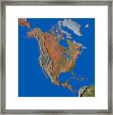 North America In Relief Framed Print