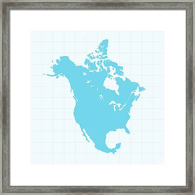 North America Map On Grid On Blue Framed Print by Iconeer