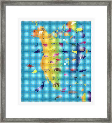 North America Mosaic Animals Map Framed Print