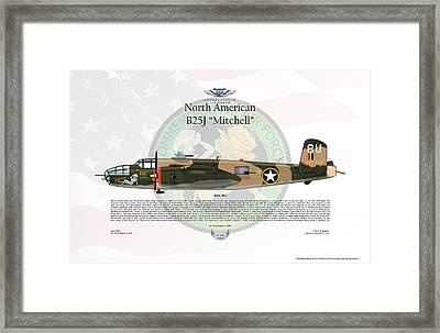 North American B-25j Mitchell Yellow Rose Framed Print