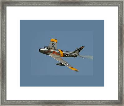 North American F 86 Sabre John Glenn Border Framed Print by L Brown