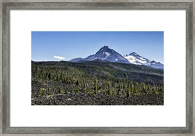 North And Middle Sister And The Lava Fields Framed Print by Belinda Greb