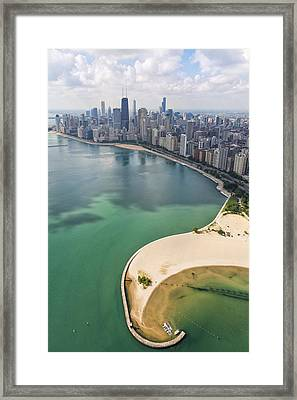 North Avenue Beach Chicago Aerial Framed Print by Adam Romanowicz
