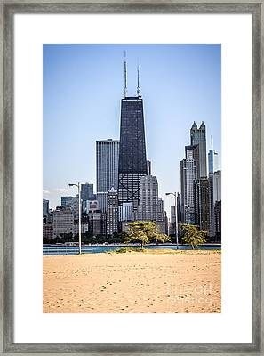 North Avenue Beach With Chicago Skyline Framed Print