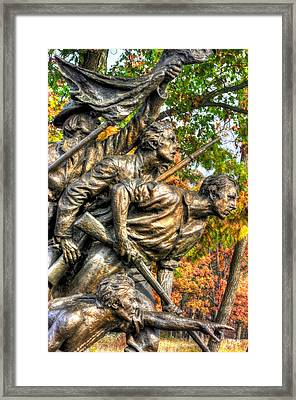 North Carolina At Gettysburg - Yonder The Trees Men No. 2 - Picketts Charge Begins Mc Millan Woods Framed Print