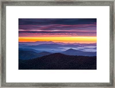 North Carolina Blue Ridge Parkway Nc Autumn Twilight Framed Print by Dave Allen