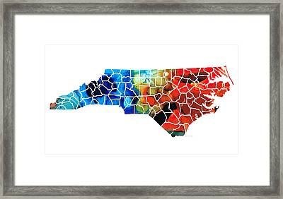 North Carolina - Colorful Wall Map By Sharon Cummings Framed Print by Sharon Cummings