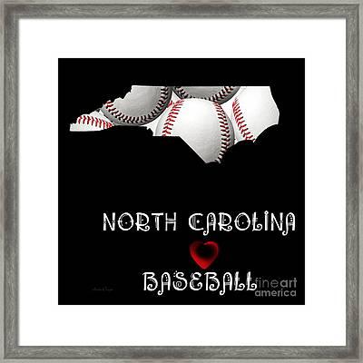 North Carolina Loves Baseball Framed Print