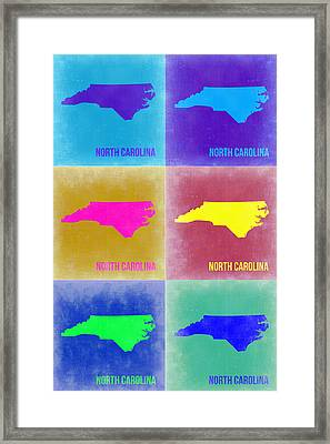 North Carolina Pop Art Map 2 Framed Print by Naxart Studio