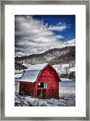 North Carolina Red Barn Framed Print by John Haldane