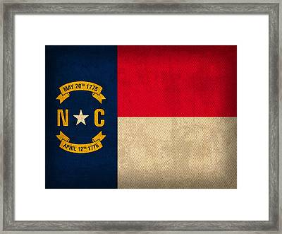 North Carolina State Flag Art On Worn Canvas Framed Print