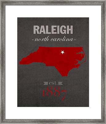 North Carolina State University Wolfpack Raleigh College Town State Map Poster Series No 077 Framed Print