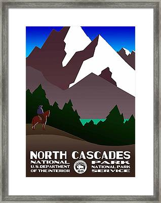North Cascades National Park Vintage Poster Framed Print