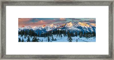 North Cascades Winter Panorama Framed Print by Inge Johnsson