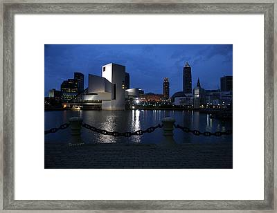 North Coast Harbor On A Stormy Night Framed Print