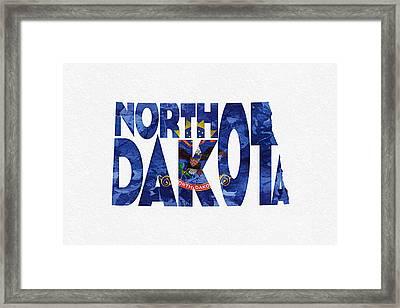 North Dakota Typographic Map Flag Framed Print by Ayse Deniz