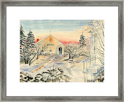 North End In Snow Framed Print by Melly Terpening