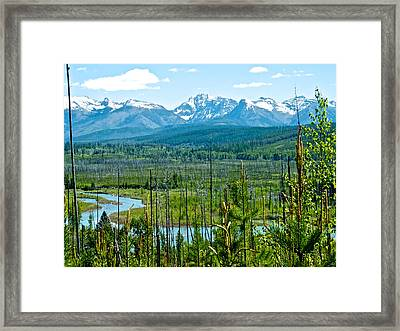 North Fork Of Flathead River And Mountains On West Side Of Glacier Np-mt Framed Print by Ruth Hager