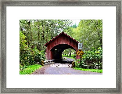 North Fork Yachats Covered Bridge Framed Print by Ansel Price
