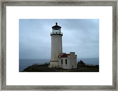 North Head Lighthouse At Cape Disappointment Framed Print by Lizbeth Bostrom