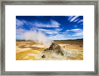 North Iceland Landscape Solfatara Field With Hot Steam Framed Print by Matthias Hauser