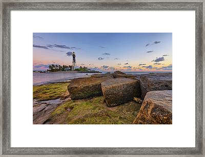 North Jetty Rocks Framed Print by Claudia Domenig